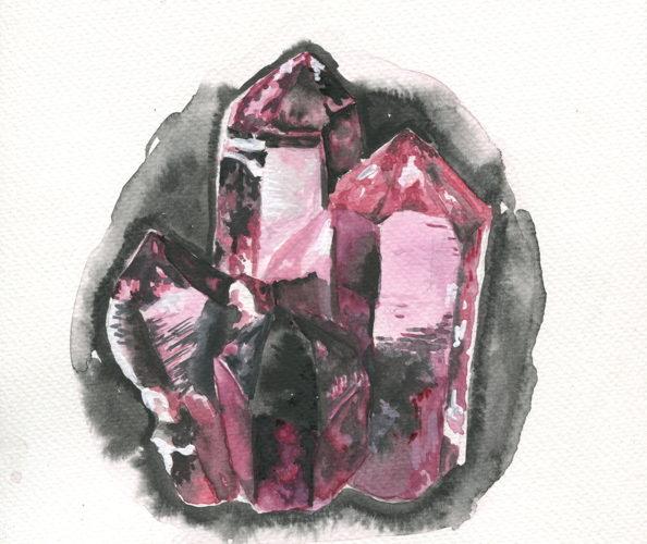 peinture d'une pierre précieuse brute à l'aquarelle