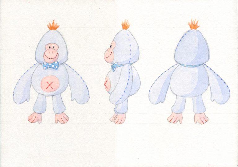 concept art d'un gorille funambule en peluche