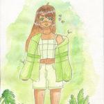 aquarelle illustration personnage cactus