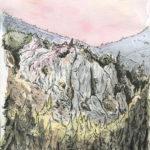 Paysage de montagne à l'aquarelle