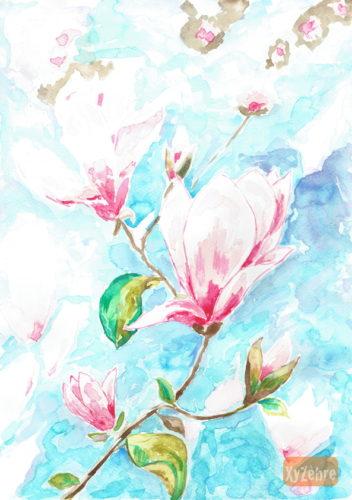 dessin de fleurs roses à l'aquarelle
