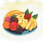 dessin d'une corbeille de fruits à l'aquarelle