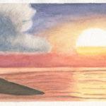 aquarelle paysage coucher de soleil